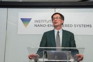 Man speaking at podium.